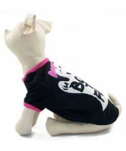 Ropa de Hallloween para perros pequeños Camiseta Negra Fantasma
