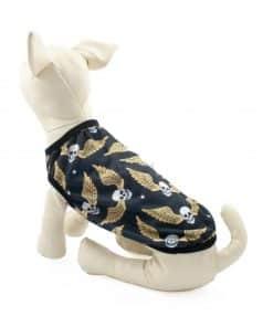 Ropa de Hallloween para perros pequeños Camiseta calavera alada