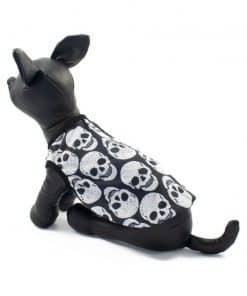 Ropa de Hallloween para perros pequeños Camiseta craneos blancos