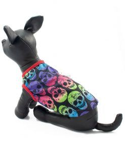 Ropa de Hallloween para perros pequeños Camiseta craneos