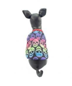 Ropa de Hallloween para perros pequeños Camiseta craneos colores