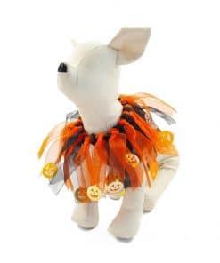 Ropa Halloween para perro collar naranja gris
