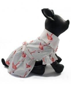 ALT vestido blanco para perritas con estampado de flamencos rosas