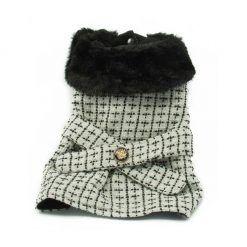 Abrigo perros pequeños Elegante Cuello Pelo Negro Color Blanco Boton Espalda Ropa Perros Invierno (1)