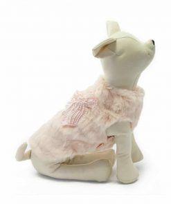 Abrigo Pelo Rosa Lazo Perlas Ropa Perros Invierno