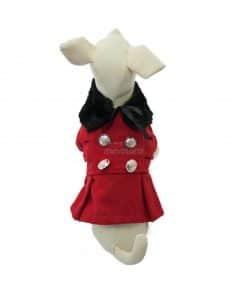 Abrigo Perro Rojo Cuello Piel Negro Botones Dorados 03