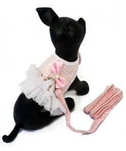 ALT arnes rosa vestido para perritas con correa