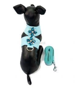 alt arnes perros pequeños piel vuelta miniatural azul
