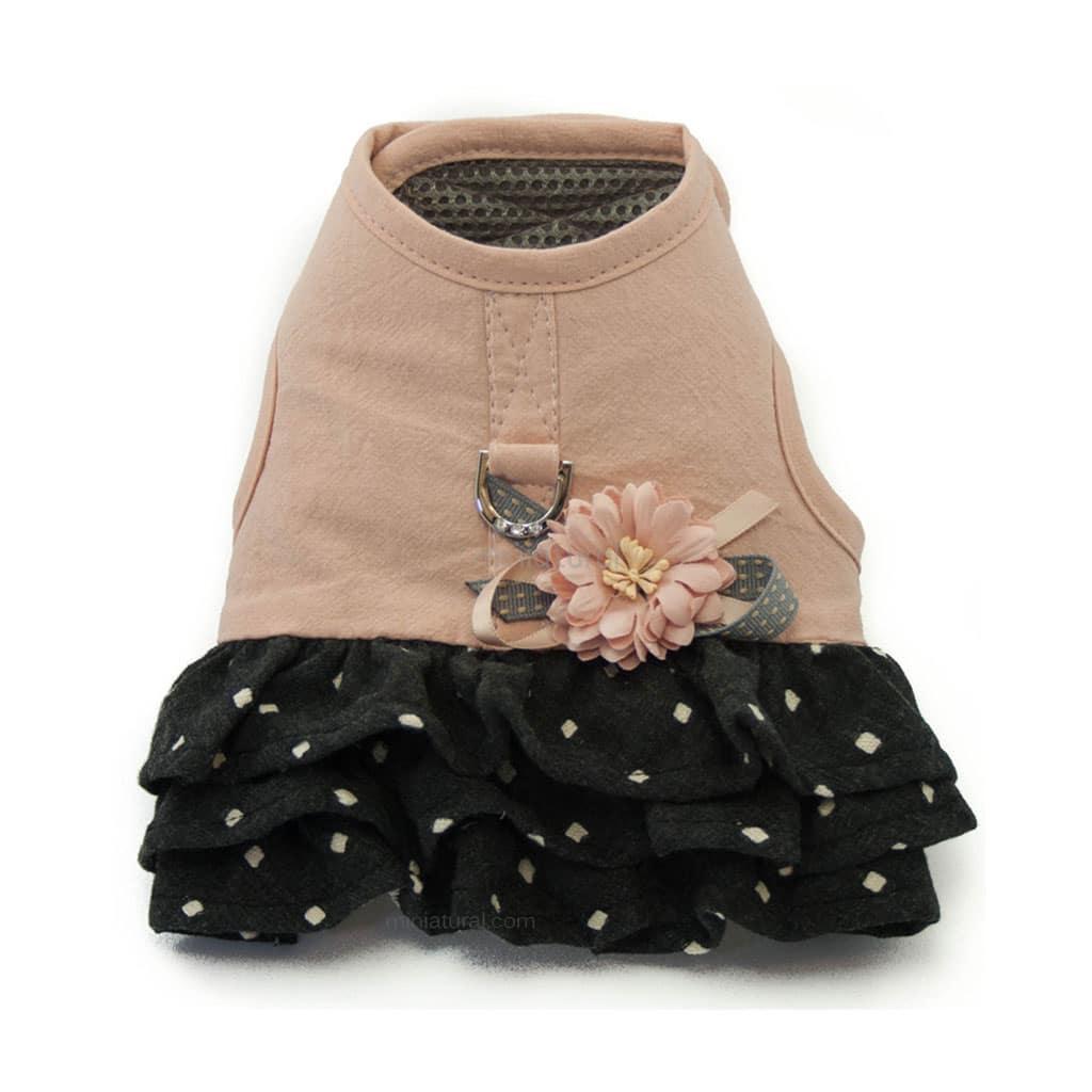 Arnes Vestido Perro Lujo Rosa Negro Flor (2)