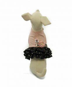 Arnes Vestido Perro Lujo Rosa Negro Flor (3)