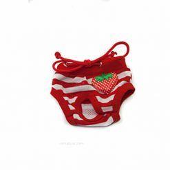 braguitas para perras Bragas Perra Underwear Rojo Rayas Blancas Fresa Cordones Ropa Perros (2)
