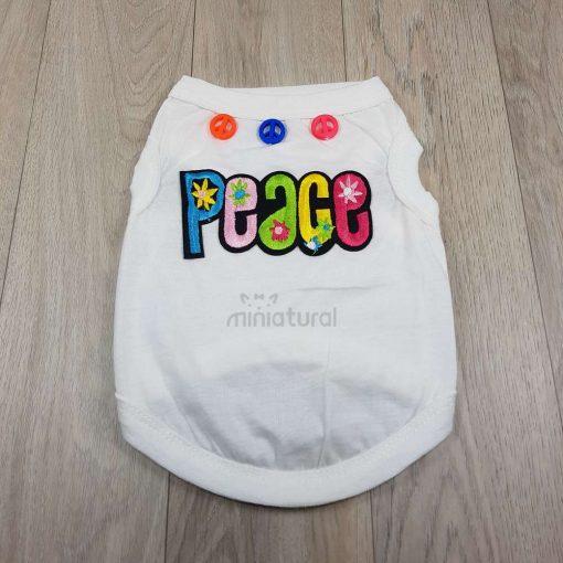 camiseta blanca para perros pequeños con palabra peace paz en ingles en la espalda