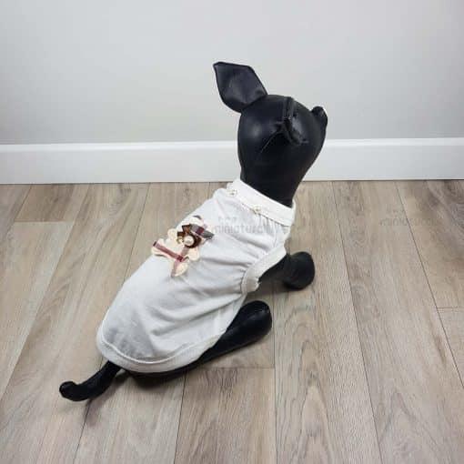 ALT camiseta blanca para perros pequeños osito tartan en la espalda y detalle de perlas
