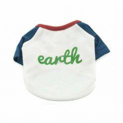 Camiseta Peros Blanca Manga Azul Cuello Rojo Earth Ropa Perros Verano (2)