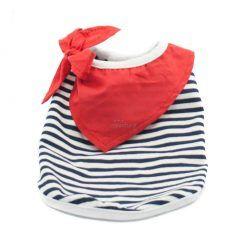 Camiseta Perro Marinera Rayas Negras Blanca Pañuelo Rojo Ropa Perros Verano (1)