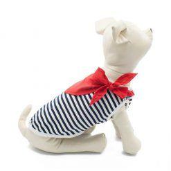 Camiseta Perro Marinera Rayas Negras Blanca Pañuelo Rojo Ropa Perros Verano (3)