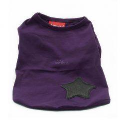 Camiseta Perro Morado Estrella Negra Manga Corta Ropa Perros Primavera (2)