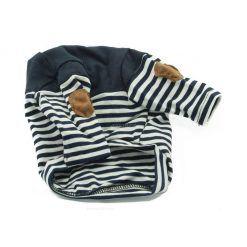 Camiseta Perro Rayas Negras Coderas Marron Cuello Negro Primavera Otoño Ropa Perros (2)