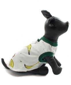 Camiseta Perros Blanca Dibujo Platanos Cuello Verde Ropa Perros Verano (1)