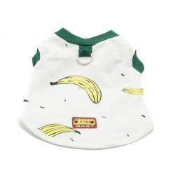 Camiseta Perros Blanca Dibujo Platanos Cuello Verde Ropa Perros Verano (2)