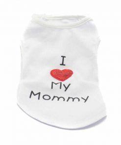 Camiseta Perros Blanca I Love My Mommy Corazon Ropa Perros Verano (1)