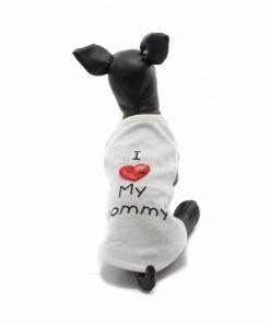 Camiseta Perros Blanca I Love My Mommy Corazon Ropa Perros Verano (2)