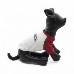 Camiseta Perros Blanca Manga Roja Cuello Rojo Peace Ropa Perros Verano (1)