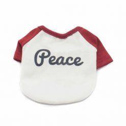 Camiseta Perros Blanca Manga Roja Cuello Rojo Peace Ropa Perros Verano (2)