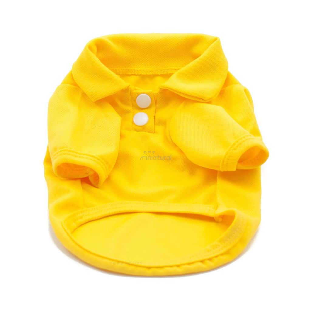Camiseta Perros Polo Amarillo Cuello Botones Blancos Ropa Perros Verano Primavera (1)