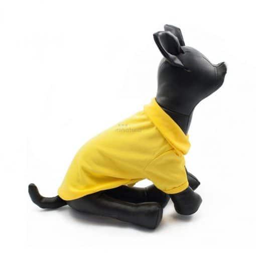 Camiseta Perros Polo Amarillo Cuello Botones Blancos Ropa Perros Verano Primavera (4)