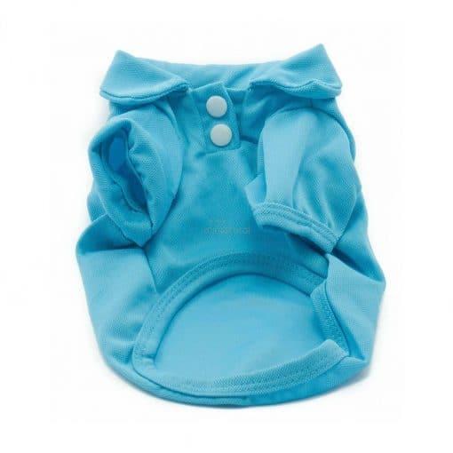 Camiseta Perros Polo Azul Cuello Botones Blancos Ropa Perros Verano Primavera (1)