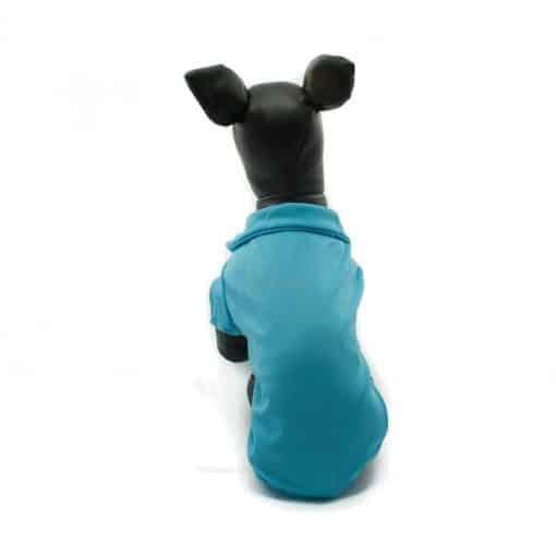 Camiseta Perros Polo Azul Cuello Botones Blancos Ropa Perros Verano Primavera (3)