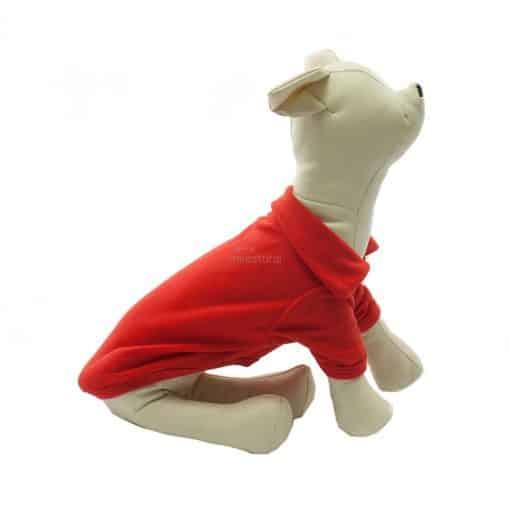 Camiseta Perros Polo Rojo Cuello Botones Blancos Ropa Perros Verano Primavera (1)