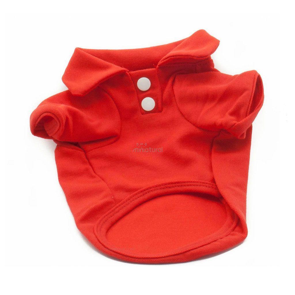 Camiseta Perros Polo Rojo Cuello Botones Blancos Ropa Perros Verano Primavera (2)