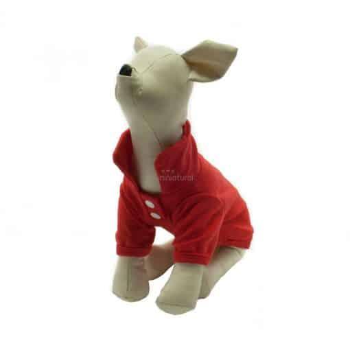 Camiseta Perros Polo Rojo Cuello Botones Blancos Ropa Perros Verano Primavera (3)