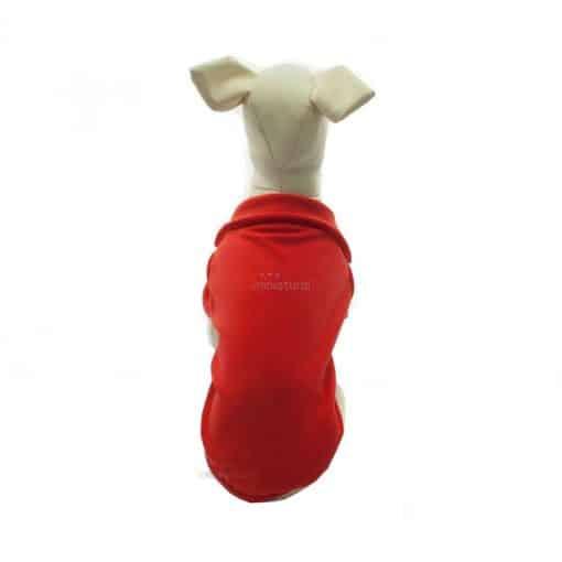 Camiseta Perros Polo Rojo Cuello Botones Blancos Ropa Perros Verano Primavera (4)
