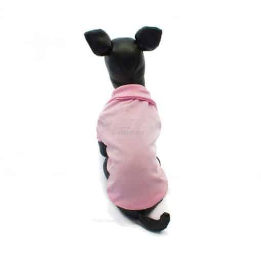 Camiseta Perros Polo Rosa Cuello Botones Blancos Ropa Perros Verano Primavera (1)