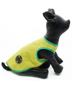 camisetas para mascotas Camiseta Perros Tirantes Amarillo Borde Verde Rejilla Playa Ropa Perros Verano (1)