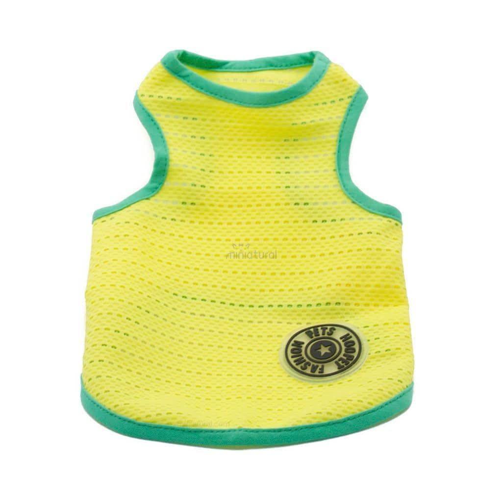 Camiseta Perros Tirantes Amarillo Borde Verde Rejilla Playa Ropa Perros Verano (2)