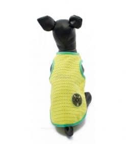 Camiseta Perros Tirantes Amarillo Borde Verde Rejilla Playa Ropa Perros Verano (3)