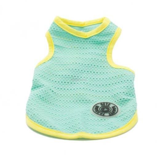 Camiseta Perros Tirantes Azul Amarilla Rejilla Playa Ropa Perros Verano (2)