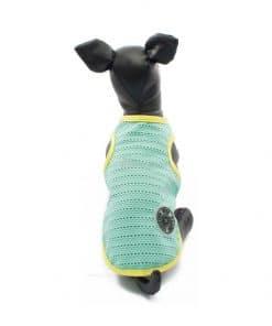 Camiseta Perros Tirantes Azul Amarilla Rejilla Playa Ropa Perros Verano (3)