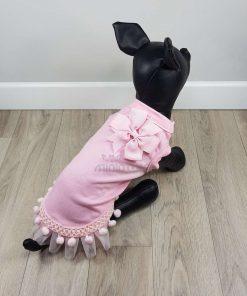 ALT camiseta rosa para perros pequeños con volante de encaje y lazo rosa en el cuello