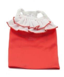 Camiseta Vestido Perro Rojo Cuello Volantes Blanco Ropa Perros Primavera Verano (1)