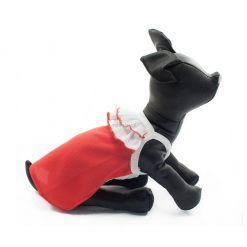 Camiseta Vestido Perro Rojo Cuello Volantes Blanco Ropa Perros Primavera Verano (3)