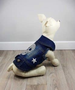 ALT ropa vaquera para perros chaqueta vaquera con calavera de brillantes blancos en la espalda y 2 estrellas