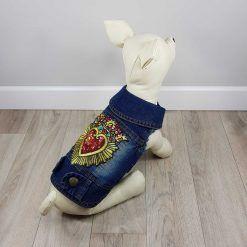 ALT ropa vaquera para perros chaqueta vaquera con corazón y corona con relieve en la espalda y detalle de adornos de piedras rosas