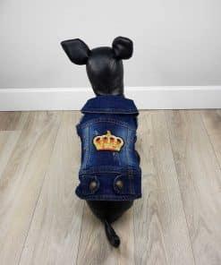 ALT ropa vaquera para perros chaqueta vaquera con corona dorada y roja n la espalda y 6 piedras rojas