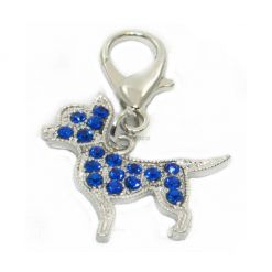 Colgante Para Collar Figura Perrito Azul Brillantes