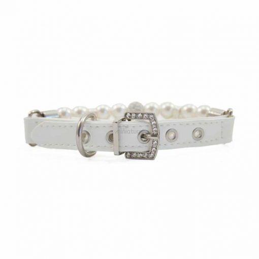 collar blanco para perros pequeños piel sintetica